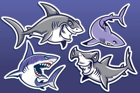 set verzameling haaienkarakters