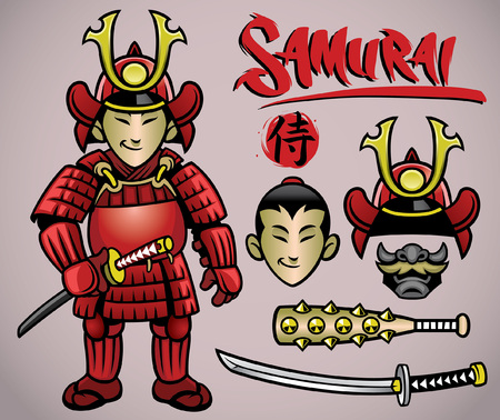 cartoon of samurai character set with armory clothing