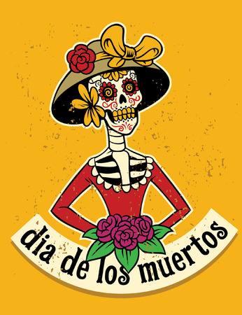 dia de los muertos poster in textured style