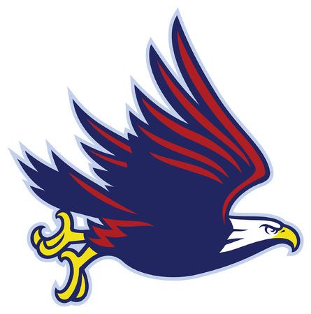 flying bald eagle mascot Illustration