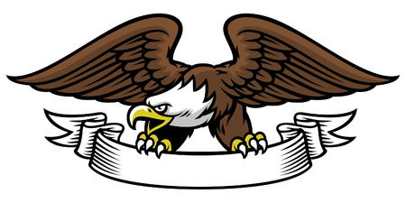 eagle mascot hold the ribbon Illustration