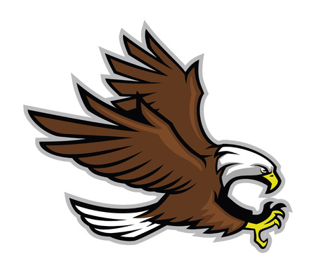 bald eagle mascot ready to attacking Illustration