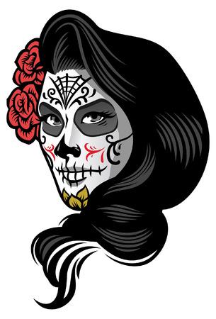 beautiful lady in sugar skull make up