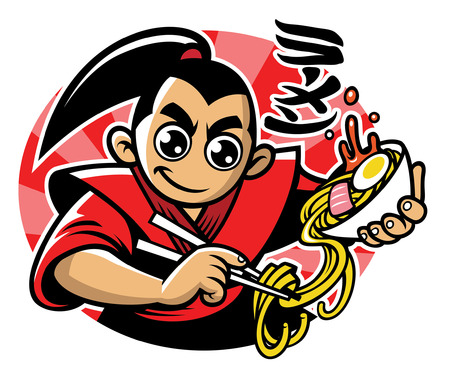 japan cartoon character enjoying the ramen