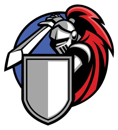 mascotte van ridderstrijder in harnas klaar om aan te vallen