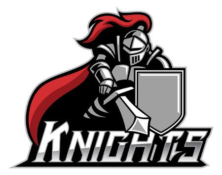 Mascota del caballero con espada y escudo.