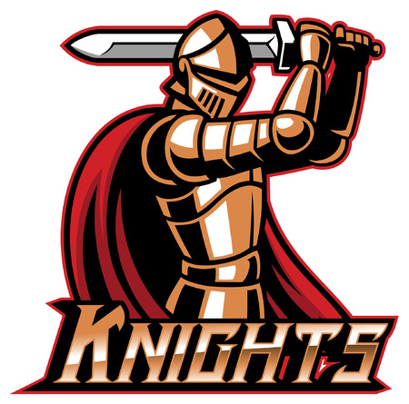 knight warrior mascot hold the sword