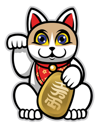 cartoon of maneki neko statue