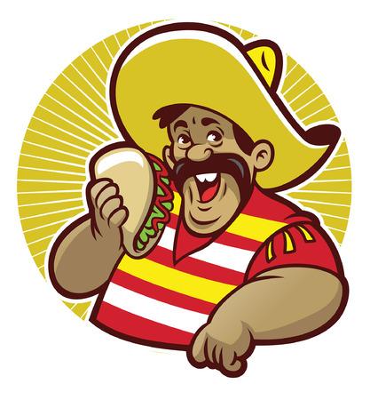 mascota de mexicano lean y muestra sus tacos Ilustración de vector