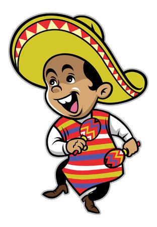 happy mexican kids of dancing