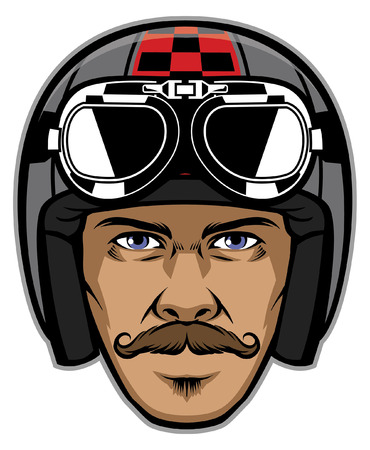 mustache man head wearing classic motorcycle helmet