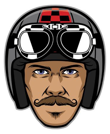 tête d'homme moustache portant un casque de moto classique Vecteurs