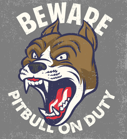 beware the dog poster with pitbull dog head