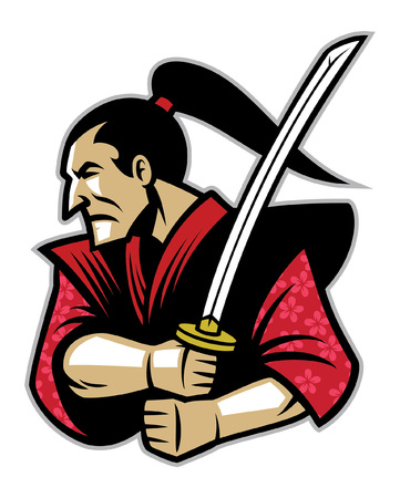 traditional samurai warrior mascot Illustration