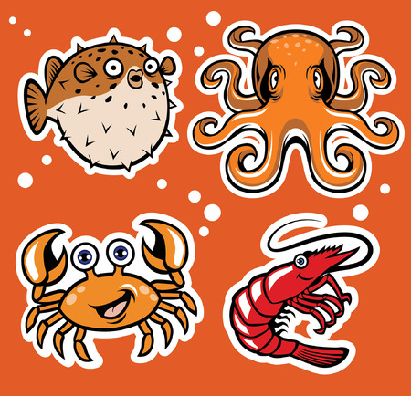 set of cartoon sea animal Иллюстрация