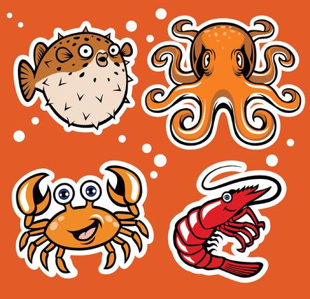 set of cartoon sea animal Illustration