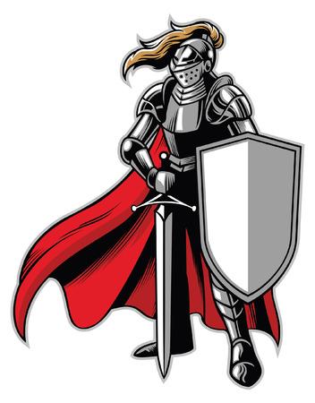 Mascota caballero de pie con escudo y espada.