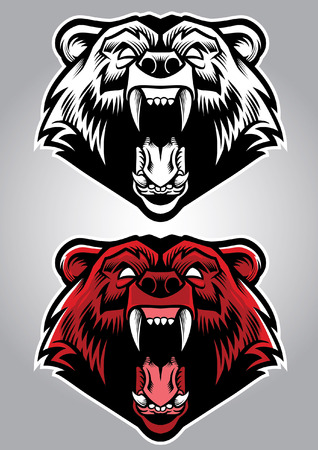 roaring grizzly bear mascot in set