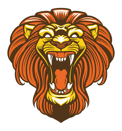 head of roaring lion mascot Banque d'images - 124465404