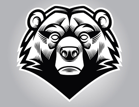 head mascot of bear Çizim