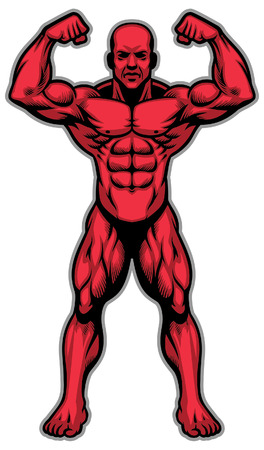 bodybuilder mostra il suo corpo atletico muscolare intero whole