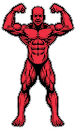 culturista muestra su cuerpo atlético muscular