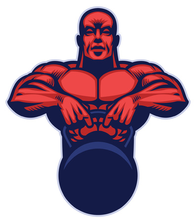 mascot of bodybuilder hold the big kettlebell