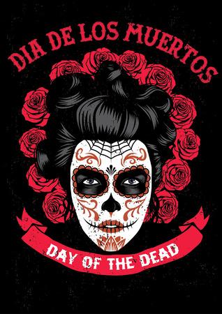 poster of dia de los muertos event with women in sugar skull make up