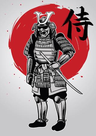 dibujo a mano de guerrero samurai