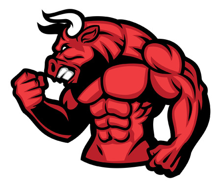 muscle body of bull mascot 向量圖像
