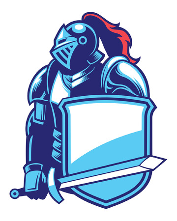 knight mascot on armor holding the sword and shield
