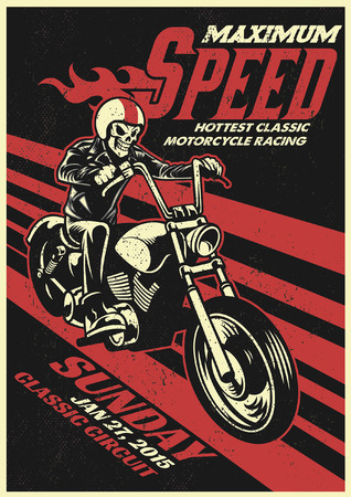 poster of skull ride the chopper motorcycle Иллюстрация