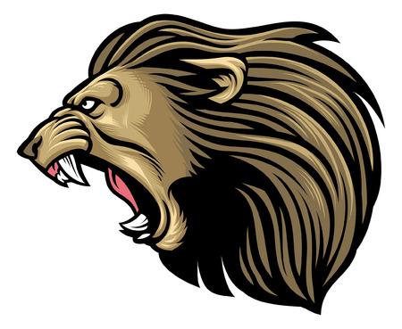 wütendes Löwenmaskottchen