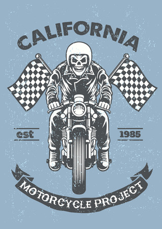 vintage skull riding caferacer with textured style  イラスト・ベクター素材