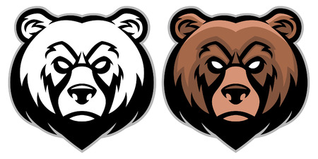 set of bear head mascot Illustration