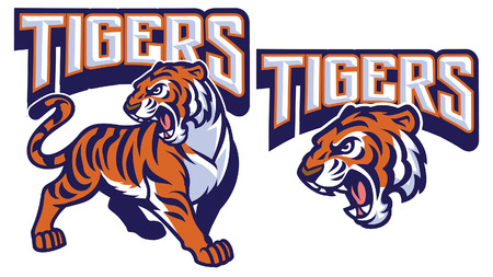 set of tiger mascot collection