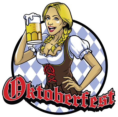 oktoberfest girl wearing drindl show her beer Çizim