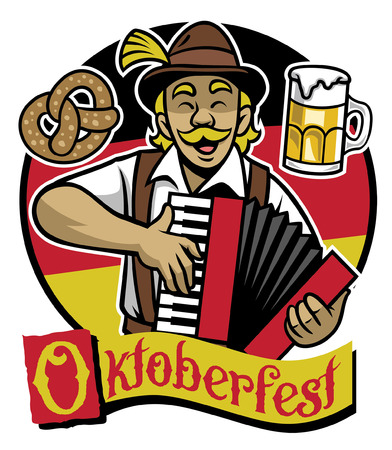 cheerful man celebrating oktoberfest and playing accordion