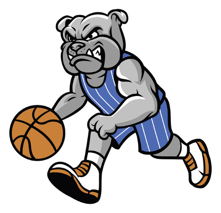 バスケットボールをプレイブルドッグマスコット