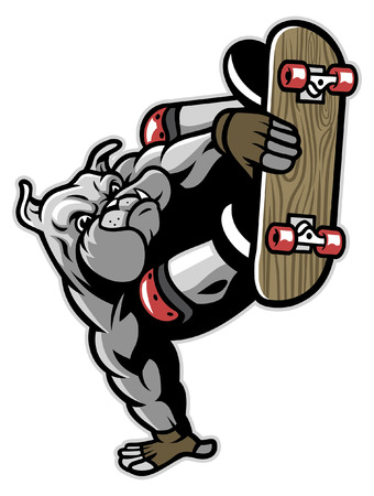 bulldog mascot riding skateboard
