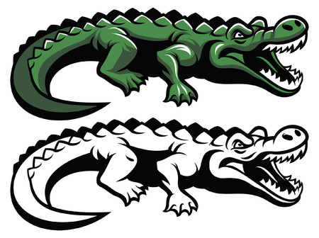 set of crocodile mascot