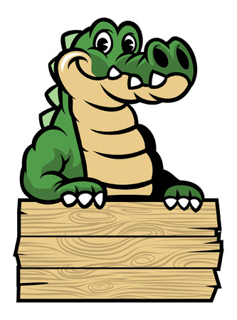 crocodile mascot with blank wood plank Vectores
