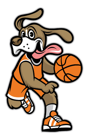 dog basketball mascot Illustration