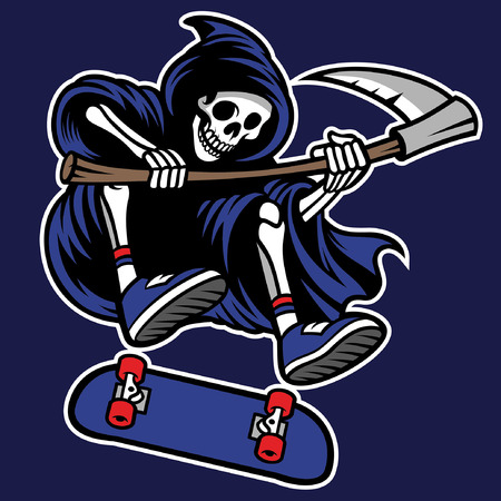 grim reaper jumping ride skateboard Banque d'images - 124707192