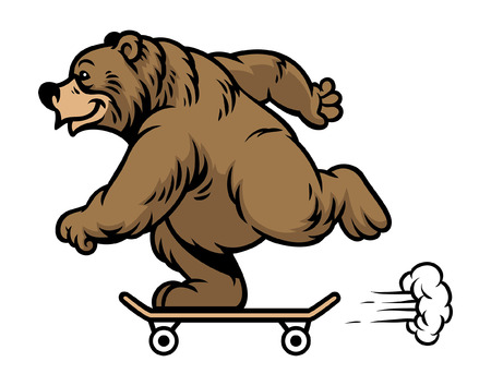 bear playing skateboard