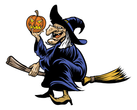 halloween wither riding flying broom