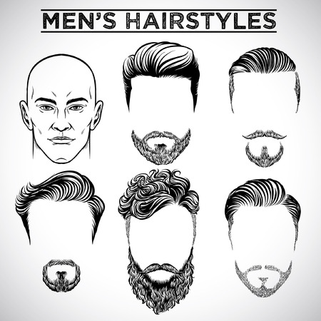 set of men's hairstyle Illustration