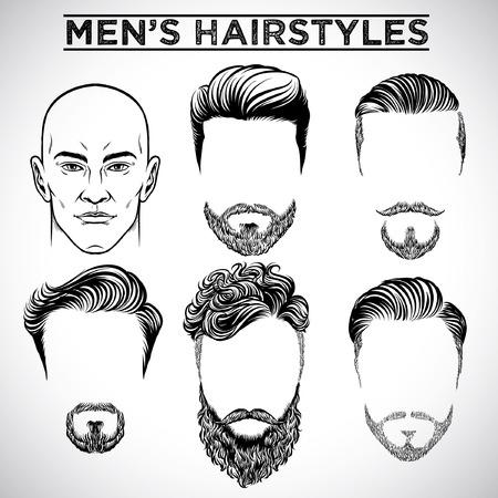set of men's hairstyle Illustration