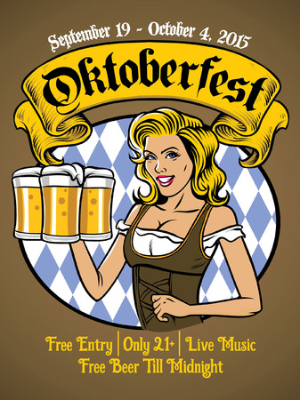 oktoberfest event poster with women wearing drindl Illustration