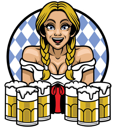 sexy girl celebrating oktoberfest holding glasses of beers Stok Fotoğraf - 124707234